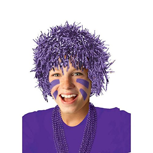 Amscan Fun Tinsel Wig Funny Costume Party Headwear (1 Piece), Purple, 10 x 3.6