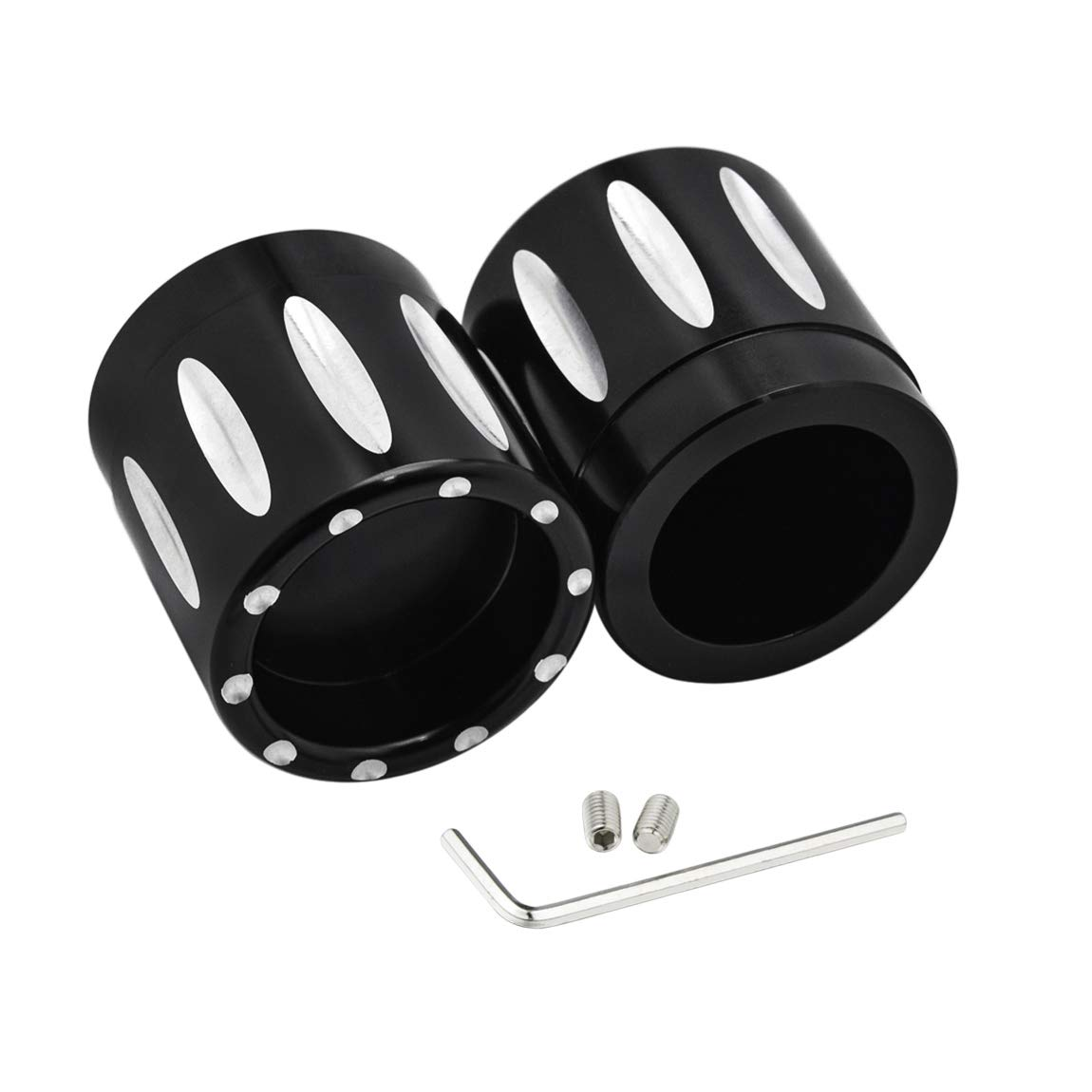 Lalaparts Black Front Axle Nut Covers Cap Compatible for Harley Touring Softail 2007-2018