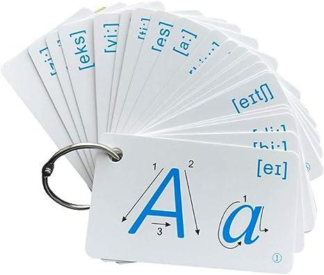 JYYC 2 Pezzi Parole della Scuola primaria Inglese 26 Lettere maiuscole dellalfabeto Inglese Carte per lalfabetizzazione della Prima Infanzia con Colpi