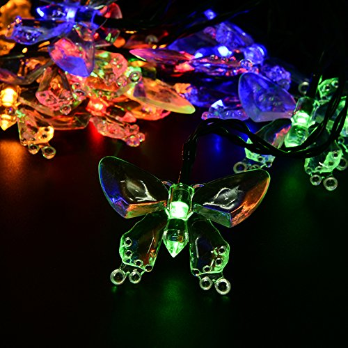 Butterfly Solar String Lights, WEKSI Waterproof 4.8m 20 LED Multi-Color Fairy Christmas Lights Decorative Lighting (colorful)