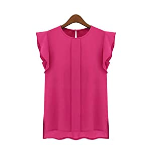 HN Casual Loose Chiffon Blouse For Women Short Tulip Sleeve Shirt Tops (3XL, Hot Pink)