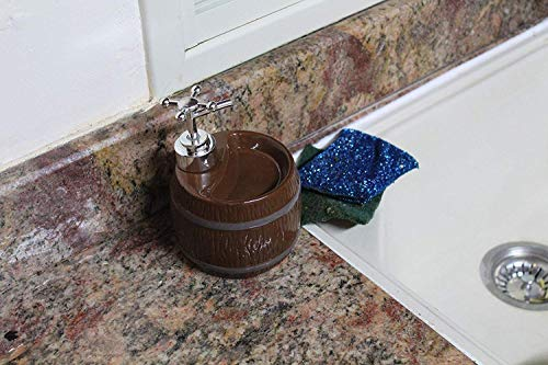 Ceramic Rustic Gallery Soap Dispenser for Bathroom Kitchen or Shower Pretty Rustical Farmhouse Soap Dispenser Brown, White, Brown, Gray. Wash Your Hands with Unique Style (Brown)