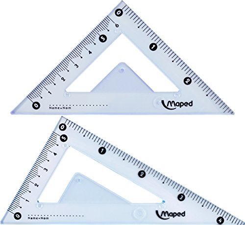"""Maped Geometry Set, 10 piece set includes: 2 Metal Study Compasses, Eraser, Pencil Sharpener, 4"""" Protractor, 2 Triangles (45° & 30°/60°), Pack of Leads, Pencil for Compass, 6"""" Ruler, Compass Draws up to 10"""" Diameter Circle (897010)"""