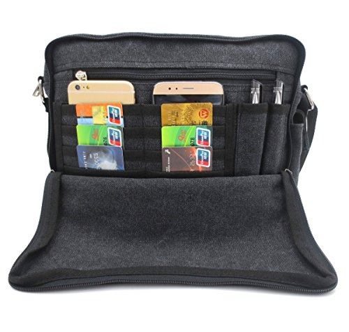 Messenger Shoulder Purse Bag Canvas Multifunctional Mens Womens Crossbody Handbag Travel Purse Change Packet Lots Pockets