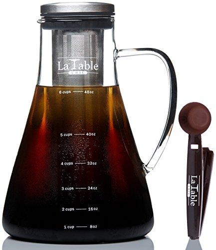 Cold Brew Coffee / Tea Maker - Large 1.5 L - Bonus Spoon Included - Glass Loose Leaf Iced Tea Infuser & Ultra Fine Double Mesh Filter, Dishwasher Safe & Rustproof, Coffee Fresh For 2 Weeks
