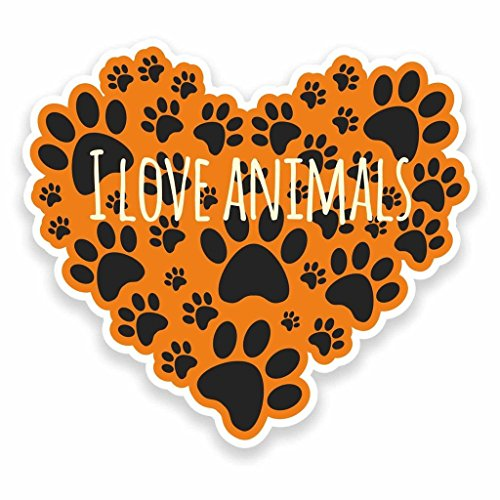 2 x 30cm/300mm I Love Animals Vinyl Sticker Decal Laptop Car Travel Luggage Label Tag #9572