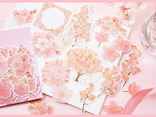 Honch Hot Stamping Stickers Cherry Blossom Sakura Stickers Pack 45 Pcs Suitcase Stickers Decals for Helmet Laptop Ipad Luggage Water Bottle