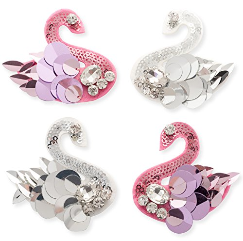 4Pcs Rhinestones Patches, Swan Rhinestones Beads Patches Appliques Sewing On DIY for Wedding Dresses, Shoes, Bags, Headpiece, Clothes, Garment Accessories (Pink and White) (Dress Princess Sew)