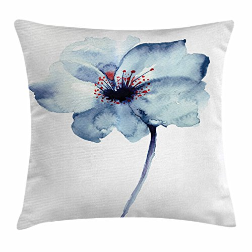 Watercolor Throw Pillow Cushion Cover by Ambesonne, Artistic Design of a Spring Flower with Blue Tones Birth of Life Theme Print, Decorative Square Accent Pillow Case, 16 X 16 Inches, Pale (Watercolor Birth Print)