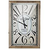 Cheap Crystal Art Retro Wall Clock Large, Rectangular, Wood, Old Town London Vintage Typography, Multicolor