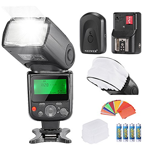 Neewer PRO NW670 E-TTL Photo Flash Kit for CANON Rebel T5i T4i T3i T3 T2i T1i XSi XTi SL1, EOS 700D 650D 600D 1100D 550D 500D 450D 400D 100D 300D 60D 70D DSLR Cameras, Canon EOS M Compact Cameras,Include:(1)NW670 ETTL Flash For Canon+(1)Universal Mini Flash Bounce Diffuser Cap+(1)35-piece Color Gel Filters+(1)Flash Diffuser+(1)16 Channels Wireless Remote Flash Trigger+(4)LR Battery