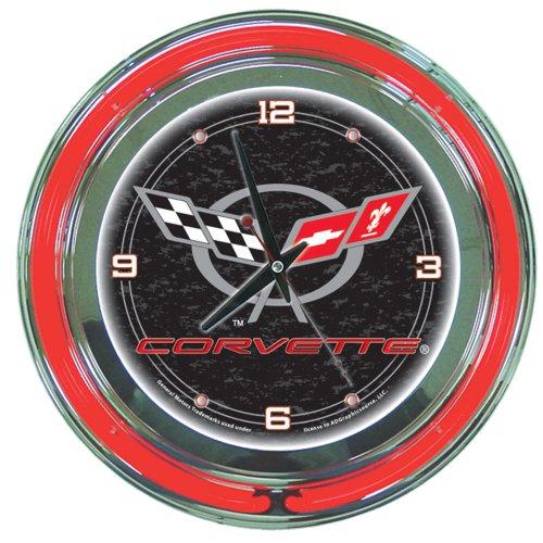 (Chevrolet Corvette Chrome Double Ring Neon Clock, 14