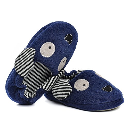 Pictures of Toddler Boys Girls Doggy Slippers Plush Warm Cartoon Puppy Indoor Bedroom Shoes, Navy US 6-7 M 5