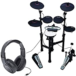 Carlsbro CSD130 Electronic Drum Set with Realistic Kick Pedal + Over-Ear Stereo Headphones – Top Value Bundle!