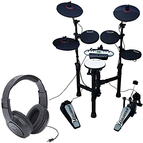 Carlsbro CSD130XXX Electronic Drum Set with Realistic Kick Pedal + Over-Ear Stereo Headphones - Top Value Bundle! by Carlsbro