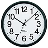 Tempus TC7001RC Commercial Atomic Wall Clock with Frame and Radio Controlled Movement, 13-1/2'', Black