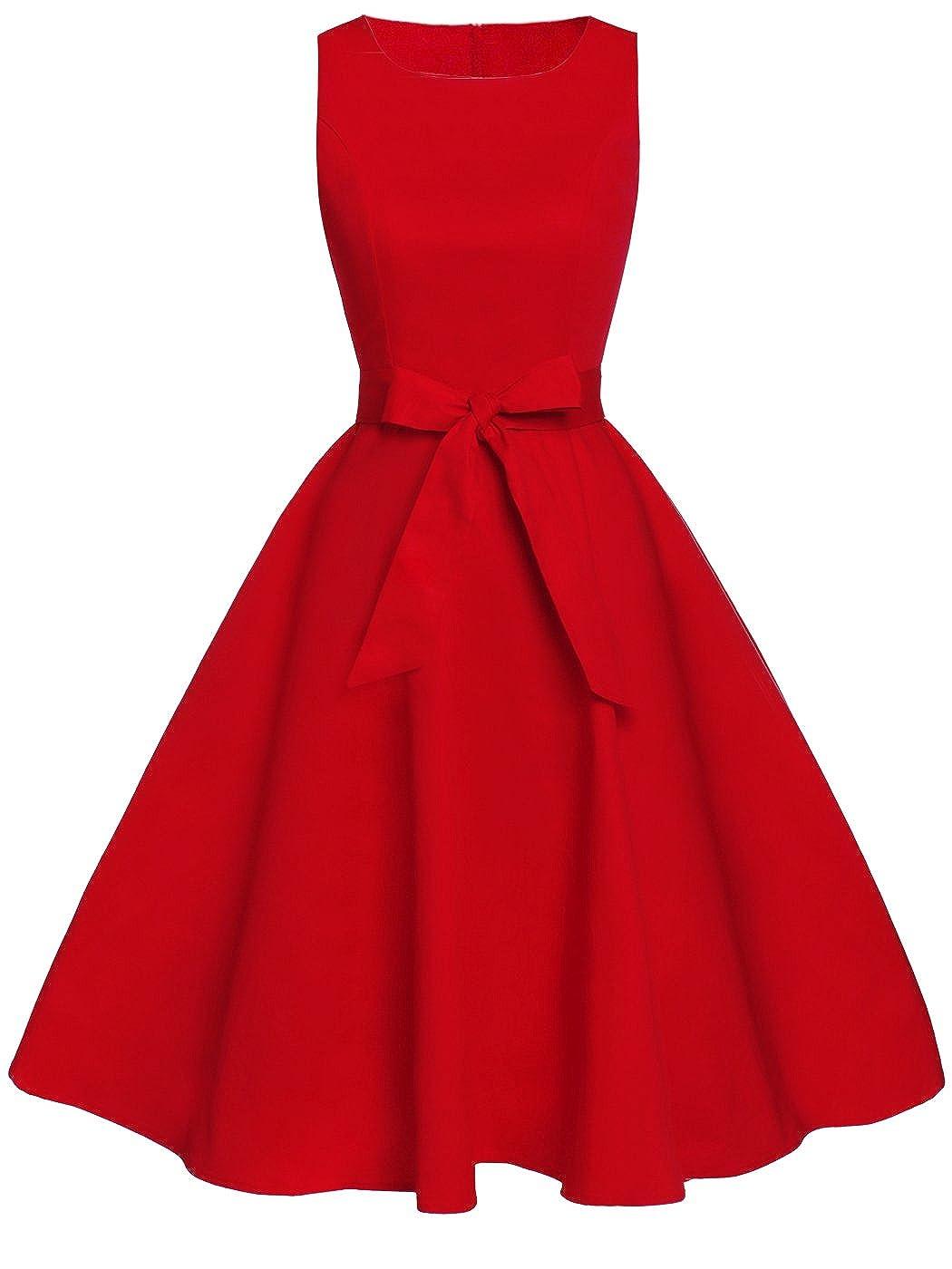 TALLA S. FAIRY COUPLE 50s Vestido de Partido Floral Retro del Oscilación del Cóctel del Vintage con el Arco DRT017 Rojo S