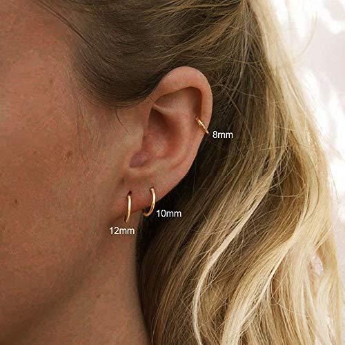 UHIBROS Small Hoop Earrings Set- Cartilage Earring Hypoallergenic Hoop Earrings or Women Men Girls Surgical Steel Huggie Hoop Earrings 3 Pairs (8mm/10mm/12mm) (3 Pairs (8-10-12mm)-Gold)