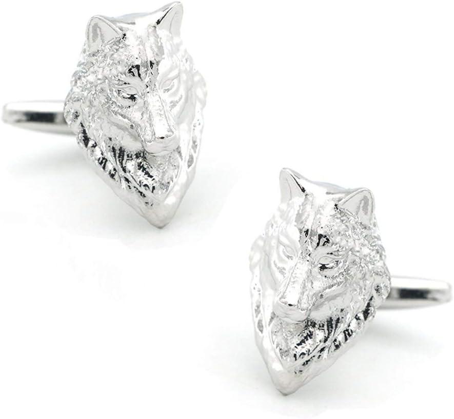 Chenyou Herren Wolf Manschettenkn/öpfe Qualit/ät Messing Material Silber Farbe Animal Design Manschettenkn/öpfe Herren und Damenaccessoires