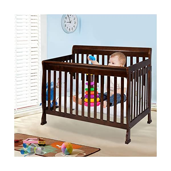 Strictest of Safety Regulations.Solid and Strong Pinewood Construction, Sleek Style and Smooth Frame, Coffee Pine Wood Baby Toddler Bed Convertible Crib, Non-Drop Side Rail Design
