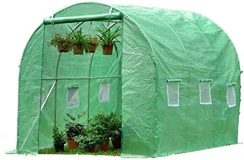 PARVIFLORE® Invernadero de Jardin Tunel 6m2 de plastico - Caseta de Jardin Exterior - Transparente Mosquitera - Cultivar Frutas y Verduras Durante Todo el año sin temor a Las inclemencias del Tiempo: