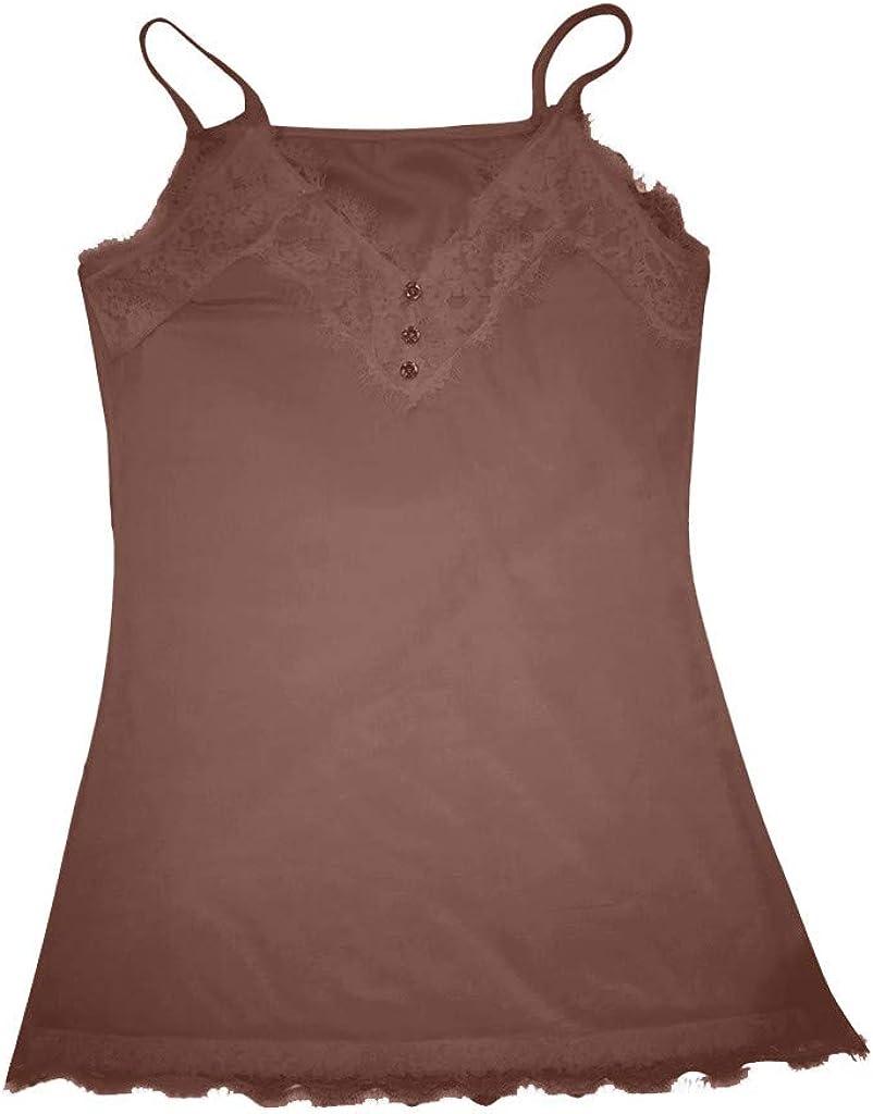 Amoyl Damen Elegante Spaghetti Tr/äger Top Spitze V Ausschnitt Mit Kn/öpfen Schlanke Camis Tops Lange Hemd Weste Tank Unterhemd
