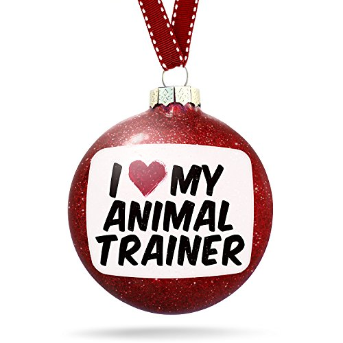 Christmas Decoration I heart love my Animal Trainer Ornament by NEONBLOND