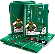 4-in-1 Casino Game Felts Bundle: Blackjack, Texas Hold 'em, Roulette & Craps - Two Double-Sided 72&quo