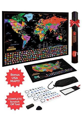 Scratch Off Map of The World/United States USA, Scratchable Travel Wall Art, Large World Map Poster, Travel Tracker w/US State & Country Flags - Memory Stickers, Magnifier & Scratch Art Tool (Wall Maps Usa And World)