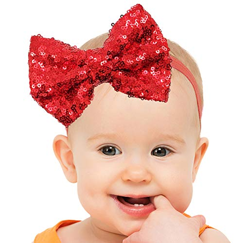 (Baby & Girl Red Bow Headband with Sparkles - Sequin Hairband Accessory (4,5