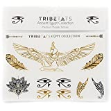 Ancient Egypt Collection - Designer Metallic Flash Temporary Tattoos by TribeTats - Black & Gold Egyptian, Henna Inspired Body Art - Includes: Armbands, Feathers, Goddess Isis - Boho Music