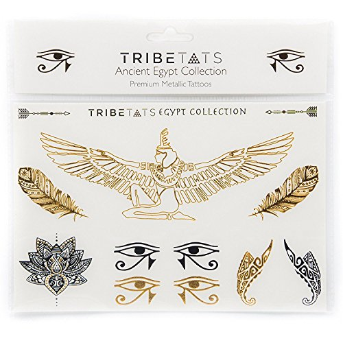 Ancient Egypt Collection - Designer Metallic Flash Temporary Tattoos by TribeTats - Black & Gold Egyptian, Henna Inspired Body Art - Includes: Armbands, Feathers, Goddess Isis - Boho Music - Egyptian Tattoos