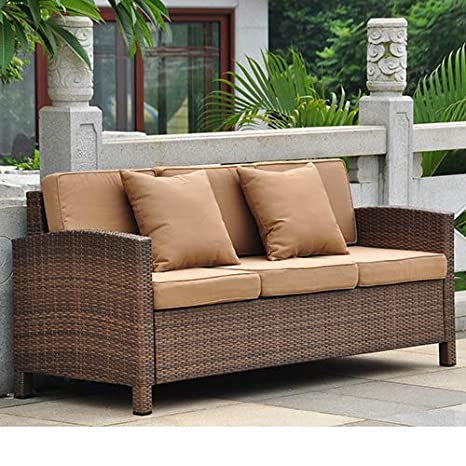 International Caravan Barcelona Resin Patio Sofa in Brown and Coffee