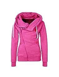 Jade Women's Casual Slim Oblique Zipper Pockets Fleeces Hoodie Jacket
