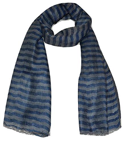 100% Pure Linen Scarf, Two Tone Stripes In Twill & Gauze, Linen Scarf. (Denim & Grey)