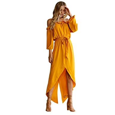 Kleider Damen Dasongff Damen Sommerkleid Off Schulter Kleid Lange Kleider  Damen Abendkleid Partykleid Strandkleid Casual Reizvoller Dress  Amazon.de   ... 7d9816560a