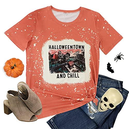 Halloweentown and Chill Tshirt Women Vintage Halloween Pumpkin Graphic Shirt Casual Short Sleeve Top Yellow