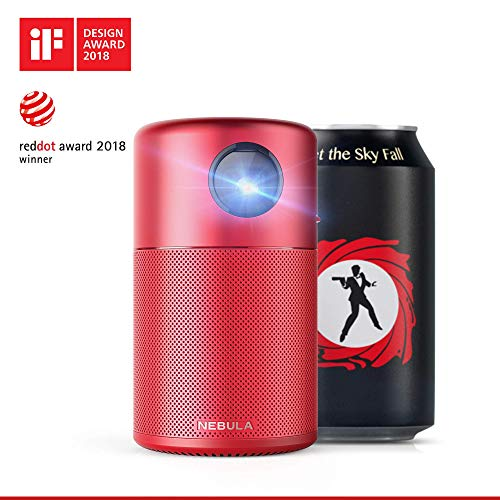 Nebula Capsule, by Anker, Smart Wi-Fi Mini Projector, Red, 100 ANSI Lumen Portable Projector, 360° Speaker, Movie Projector, 100 Inch Picture, 4-Hour Video Playtime, Outdoor Projector-Watch Anywhere