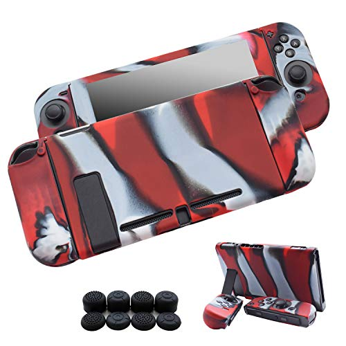 (Hikfly 3pcs Silicone Gel Non-Slip Cover Skin Protector Case Kits Compatible for Nintendo Switch Consoles and Joy-Con Controllers with 8pcs Silicone Gel Thumb Grips Caps(Red Camouflage))