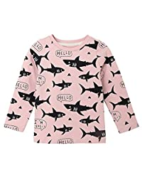 EISHOW 2-7 Years Toddler Kids Baby Boy Girl Long Sleeve Letter Shark Cartoon Print Casual Tops Blouse T-Shirt Outfit