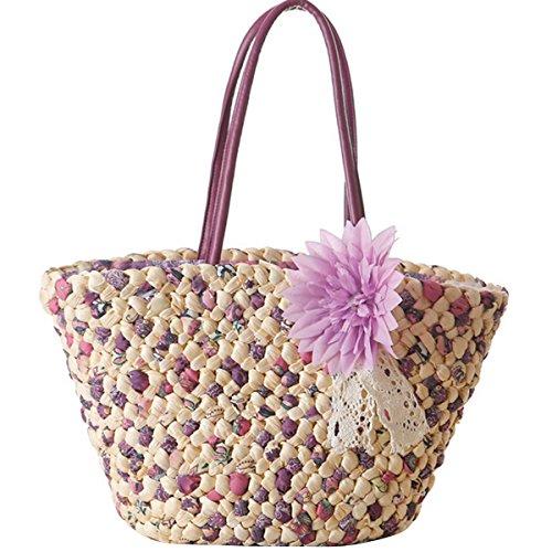 Butterme Borsa in Tote da Beach di estate Borsa a tracolla tessuta a mano di paglia con accento floreale per le ragazze delle donne Viola