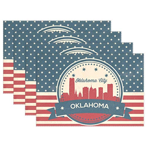 Jereee Oklahoma City Retro Skyline Set of 6 Placemats Heat-Resistant Table Mat Washable Stain Resistant Anti-Skid Polyester Place Mats for Kitchen Dining Decoration -
