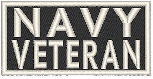 Navy Veteran Patch with Hook & Loop Patriotic Morale MC Biker Emblem White Border #03