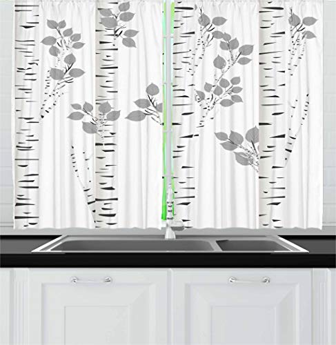(Ambesonne Birch Tree Kitchen Curtains, Artistic White Branches with Leaves Autumn Nature Forest Inspired Image Print, Window Drapes 2 Panel Set for Kitchen Cafe, 55 W X 39 L Inches,)