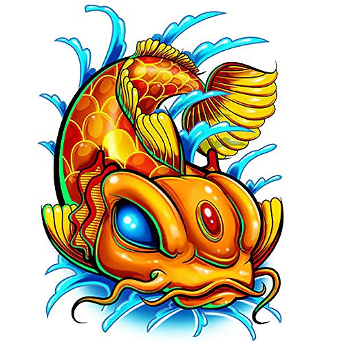 Waterproof Temporary Tattoo Laser Series Orange Koi Fish Shiny Laser Foil Style For Men Women Tattoo Body Arms Hands Back Kids Fake Temporary Tattoos Stickers Made in USA