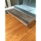 46x16 Reclaimed Barn Wood Coffee Table with Vintage Steel Hairpin Legs