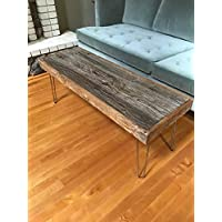 46x16 Reclaimed Barn Wood Coffee Table with Vintage Steel Hairpin Legs