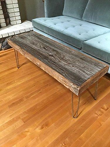 "46""x16"" Reclaimed Barn Wood Coffee Table with Vintage Steel Hairpin Legs"