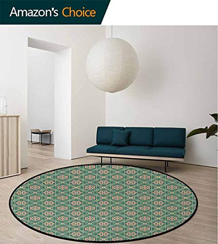 DESPKON-HOME Mandala Round Area Rugs Bedroom,Spring Seasonal Mosaic Ethnic Figures Vertical Floral Far Eastern Lifts Basket Swivel Chair Pad Coffee Table Rug Round-47 Inch,Jade Green Light Pink Peach