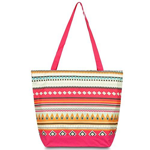 Zodaca Large All Purpose Travel Tote Bag, Aztec Pink Pink All Purpose Totes